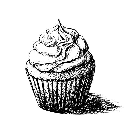 かわいいクリーミーな甘いカップケーキのベクトル黒と白のスケッチ イラスト。グリーティング カードやパーティの招待状に使用することができま  イラスト・ベクター素材