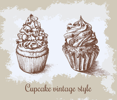 Set of sweet bakery decorated cupcakes hand drawn in vintage engraved style. Vector illustration on beige aged background