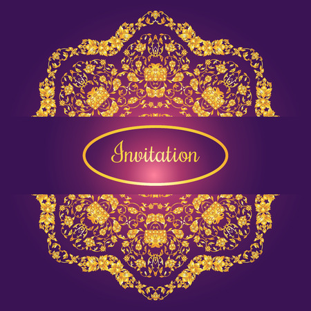 Floral decorated invitation card with antique, luxury gold vintage ornament on violet gradient background, victorian banner, damask baroque style booklet, fashion pattern, template for design.
