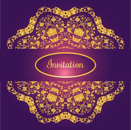 friso: tarjeta de invitación decorado floral con antigüedades, adornos de oro de lujo de la vendimia en el fondo del gradiente violeta, Victorian de la bandera, folleto del damasco del estilo barroco, patrón de la moda, la plantilla de diseño. Vectores
