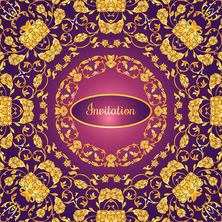 pattern antique: Floral decorated invitation card with antique, luxury gold vintage ornament on violet gradient background, victorian banner, damask baroque style booklet, fashion pattern, template for design.