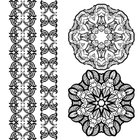 mendie: Hand-drawn mehendi ornamental elements and mandala collection. Indian henna tattoo set. Oriental style decorative design templates.   vector illustration isolated on white