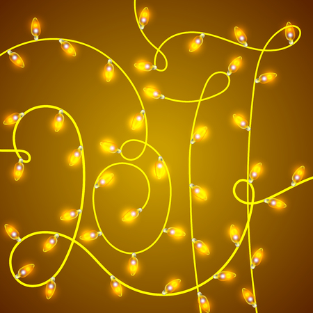 Colorful Glowing Christmas Lights in shape 2017. Vector backdrop for new Year. Holiday Illustration, luminous electric garland, shiny light bulbs and wire decoration. Illustration