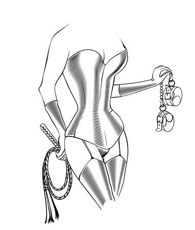 Decorative drawing in sketch style with inked female body with legs in latex stockings and tight corset, holding the thong and handcuffs. Vector illustration isolated. Fetish and symbol. Dominating mistress,dominatrix.