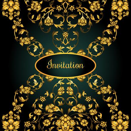 friso: tarjeta de invitación decorado floral con antigüedades, adornos de oro de lujo de la vendimia en el fondo degradado verde, Victorian de la bandera, folleto del damasco del estilo barroco, patrón de la moda, la plantilla de diseño. Vectores