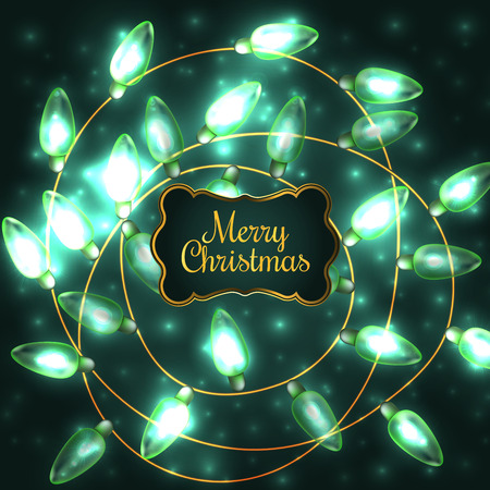 Colorful Green Glowing Christmas Lights.Vector elements can be used as backdrop for new Year decoration. Holiday Illustration, luminous electric garland, shiny light bulbs and wire.