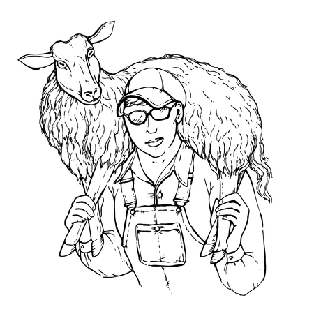 herd: Illustration of a young strong farmer boy with a sheep on his shoulders. Sheepman carrying a lamb, vector sketch isolated on white background. Illustration