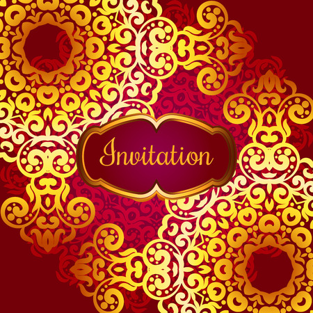 Rich gold invitation card in the Indian style. Bohemian Cards with mandalas. Royal red and gold ornament. Unique template for design or backdrop. Illustration
