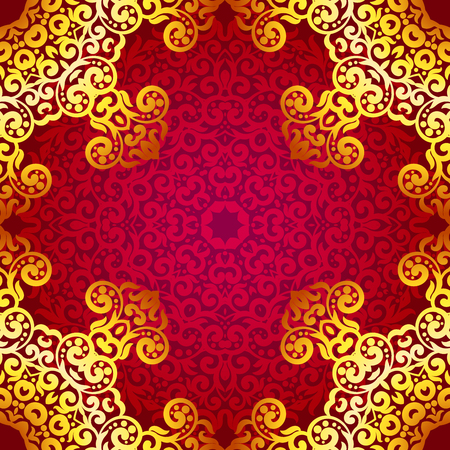 Rich Gold Seamless Pattern In The Indian Style Bohemian Background With Mandalas Royal Red