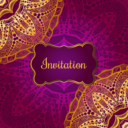 Rich gold invitation card in the Indian style. Bohemian Cards with mandalas. Royal purple and gold ornament. Unique template for design or backdrop