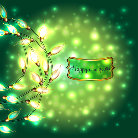 Colorful Glowing Christmas Lights.Vector elements can be used as backdrop for new Year decoration. Holiday Illustration, luminous electric garland, shiny light bulbs and wire.