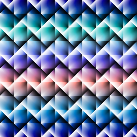 saturation: 3d square mosaic seamless pattern. Vintage colorful texture with rainbow colors. Vector illustration.