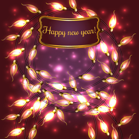 Colorful Red Glowing Christmas Lights.Vector elements can be used as backdrop for new Year decoration. Holiday Illustration, luminous electric garland, shiny light bulbs and wire. Illustration