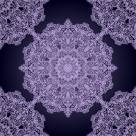Seamless pattern with Lacy mandala in the Indian style. Bohemian ornament. Royal purple circle tracery. Unique template for design or backdrop.