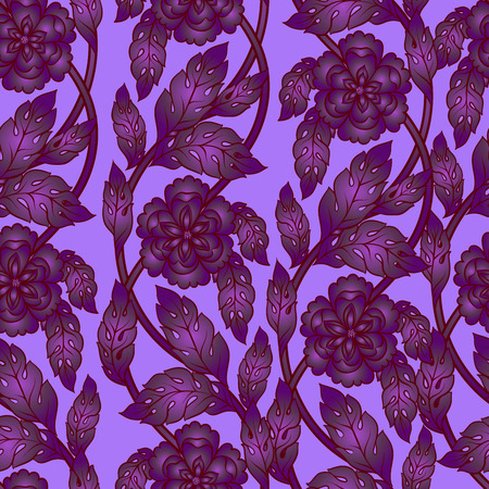 Vector seamless background with floral branches. Intricate ornament made of twisted flowers