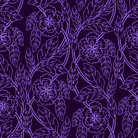 Vector seamless patern background with floral branches. Intricate ornament made of twisted flowers.Lilac lacy outline. Illustration