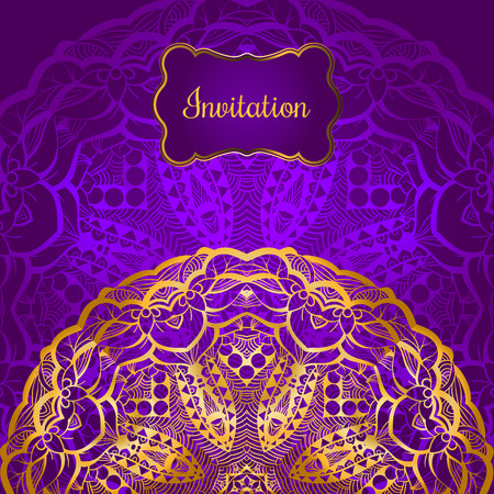 Rich gold invitation card in the Indian style. Bohemian Cards with mandalas. Royal purple and gold ornament. Unique template for design or backdrop.
