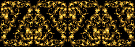 moulding: Vector seamless vintage design element. Floral border with stylized baroque scrolls. Golden rich moulding in style of the 19th century. Luxury, black with gold leaves.