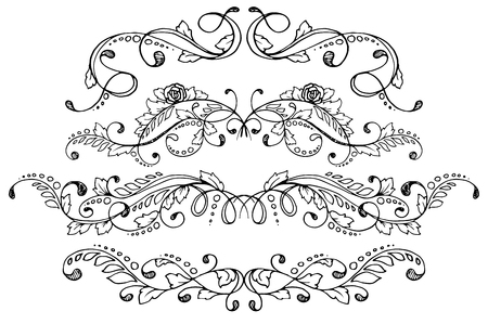 Set of four calligraphic floral design elements and page decoration. Vector illustration.