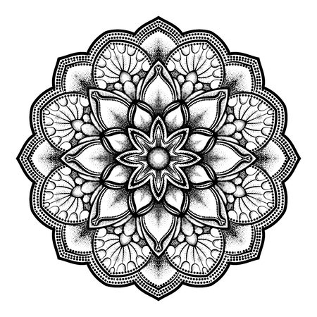 pointillism: Vector illustration dotted round mandala in black isolated on white background. Round decorative ornament. Geometrical elements in trendy dotwork style for tattoo.. Illustration