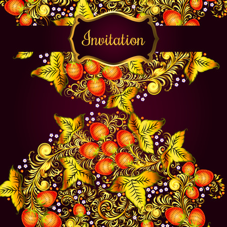 Decorative card with elements of traditional Russian national painting in Khokhloma style - flowers, berries and leaves.Nice detailed decoration, design element, vector graphics. Template forbanners, posters, prints.