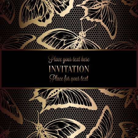 antique fashion: Abstract background with antique, luxury black and gold vintage frame, victorian banner, lace with butterflies, invitation card, baroque style booklet, fashion pattern, template for design