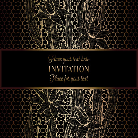 Abstract background with antique, luxury black and gold vintage frame, victorian banner, lillies on lace wallpaper ornaments, invitation card, baroque style booklet, fashion pattern, template for design. Illustration