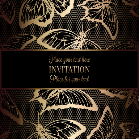 vintage invitation: Abstract background with antique, luxury black and gold vintage frame, victorian banner, lace with butterflies, invitation card, baroque style booklet, fashion pattern, template for design