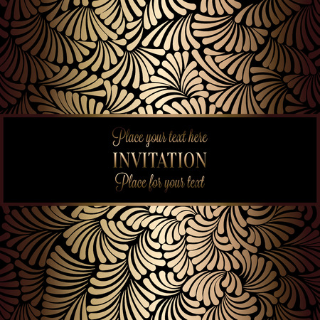 antique fashion: Abstract background with antique, luxury black and gold vintage frame, victorian banner, damask floral wallpaper ornaments, invitation card, baroque style booklet, fashion pattern, template for design.