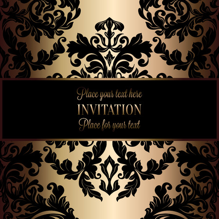 victorian wallpaper: Victorian background with antique, luxury black and gold vintage frame, victorian banner, damask floral wallpaper ornaments, invitation card, baroque style booklet, fashion pattern, template for design.