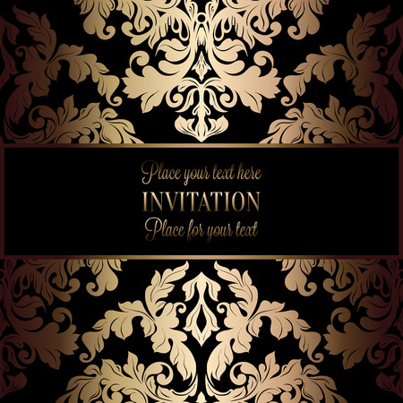 Rococo background with antique, luxury black and gold vintage frame, victorian banner, damask floral wallpaper ornaments, invitation card, baroque style booklet, fashion pattern, template for design. Ilustrace