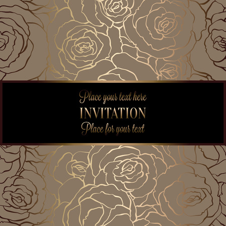 Abstract background with roses, luxury beige and gold vintage frame, victorian banner, damask floral wallpaper ornaments, invitation card, baroque style booklet, fashion pattern, template for design.