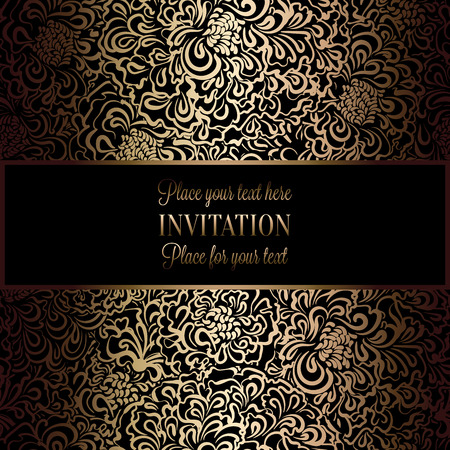 victorian wallpaper: Intricate background with antique, luxury black and gold vintage frame, victorian banner, damask floral wallpaper ornaments, invitation card, baroque style booklet, fashion pattern, template for design. Illustration