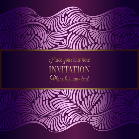 antique fashion: Abstract background with antique, luxury violet vintage frame, floral wallpaper ornaments, invitation card, booklet, fashion pattern, template for design.