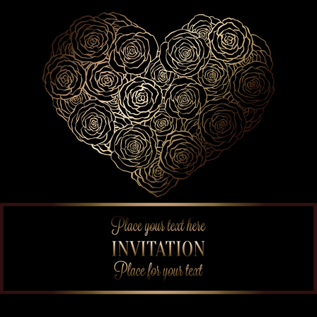 roses wallpaper: Romantic background with antique, luxury black and gold vintage frame, victorian banner, heart made of roses wallpaper ornaments, invitation card, baroque style booklet, fashion pattern, template for design.
