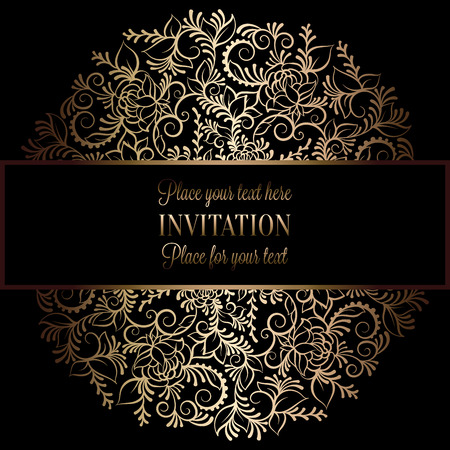 victorian wallpaper: Abstract background with antique, luxury black and gold vintage frame, victorian banner, damask floral wallpaper ornaments, invitation card, baroque style booklet, fashion pattern, template for design.