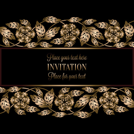 antique fashion: Floral background with antique, luxury black and gold vintage frame, victorian banner, damask floral wallpaper ornaments, invitation card, baroque style booklet, fashion pattern, template for design. Illustration
