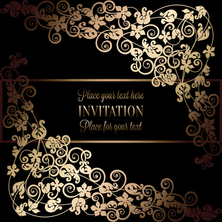 victorian wallpaper: Floral background with antique, luxury black and gold vintage frame, victorian banner, damask floral wallpaper ornaments, invitation card, baroque style booklet, fashion pattern, template for design. Illustration