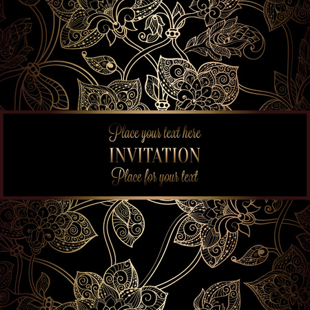 antique fashion: Intricate background with antique, luxury black and gold vintage frame, victorian banner, damask floral wallpaper ornaments, invitation card, baroque style booklet, fashion pattern, template for design. Illustration
