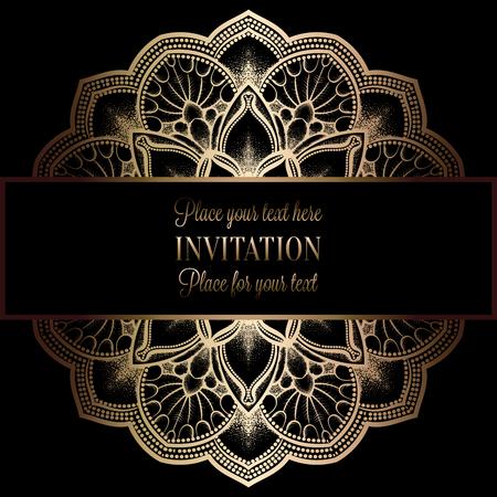 Abstracte achtergrond met antiek, luxe zwart en goud vintage frame, Victoriaans spandoek, damast bloemen behang ornamenten, uitnodigingskaart, barokke stijl boekje, mode-patroon, sjabloon voor het ontwerp. Stock Illustratie