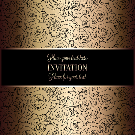 victorian wallpaper: Abstract background with roses, luxury black and gold vintage frame, victorian banner, damask floral wallpaper ornaments, invitation card, baroque style booklet, fashion pattern, template for design Illustration