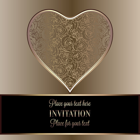 roses wallpaper: Romantic background with antique, luxury black and gold vintage frame, victorian banner, heart made of roses wallpaper ornaments, invitation card, baroque style booklet, fashion pattern, template for design Illustration