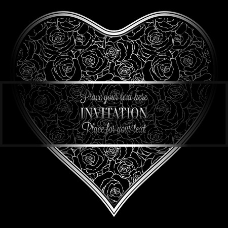 roses wallpaper: Romantic background with antique, luxury black and silver vintage frame, victorian banner, heart made of roses wallpaper ornaments, invitation card, baroque style booklet, fashion pattern Illustration