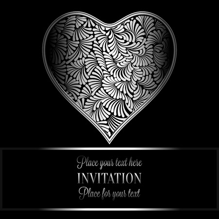 antique fashion: Romantic background with antique, luxury black and silver vintage frame, victorian banner, heart made of feathers wallpaper ornaments, invitation card, baroque style booklet, fashion pattern