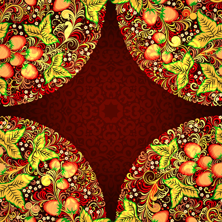 patten: Decorative seamless patten with elements of traditional Russian national painting in Khokhloma style - flowers, berries and leaves.Nice detailed decoration, design element, vector graphics. Illustration