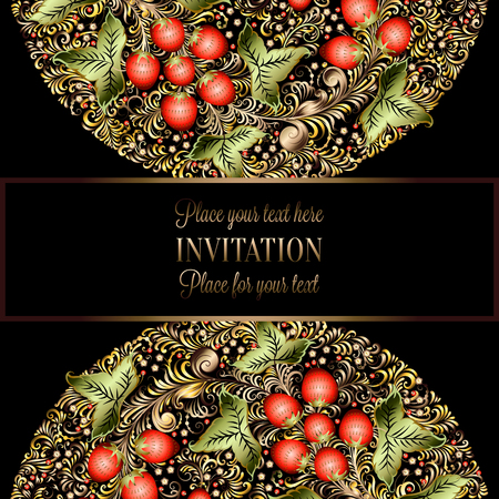 Decorative card with elements of traditional Russian national painting in Khokhloma style - flowers, berries and leaves.Nice detailed decoration, design element, vector graphics. Template for banners, posters, prints. Stock Photo