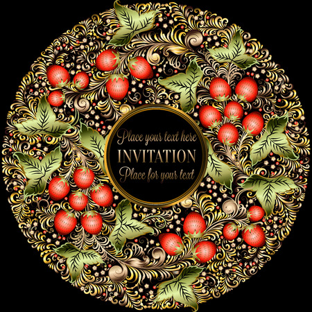 Decorative card with elements of traditional Russian national painting in Khokhloma style - flowers, berries and leaves.Nice detailed decoration, design element, vector graphics. Template for banners, posters, prints. Illustration