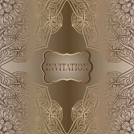 victorian frame: Romantic background with antique, luxury beige and gold vintage frame, victorian banner, lacy mandala wallpaper ornaments, invitation card, baroque style booklet, fashion pattern. Illustration