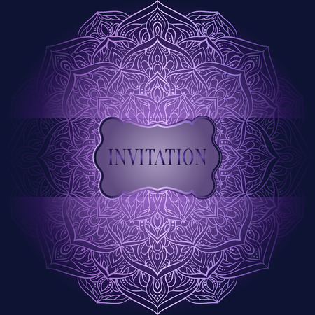 Romantic background with antique, luxury purple and lilac vintage frame, victorian banner, lacy mandala wallpaper ornaments, invitation card, baroque style booklet, fashion pattern.