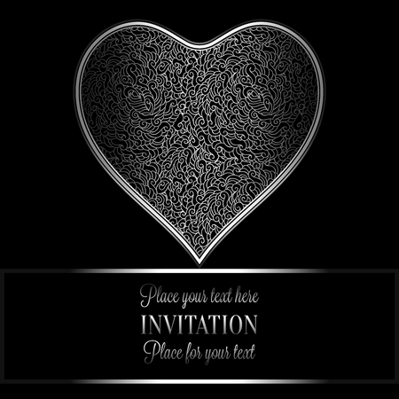 black and silver: Romantic background with antique, luxury black and silver vintage frame, victorian banner, heart made of feathers wallpaper ornaments, invitation card, baroque style booklet, fashion pattern. Illustration